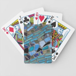 Blue Sea Glass Mosaic Bicycle Playing Cards