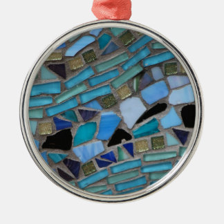 Blue Sea Glass Mosaic Christmas Ornament