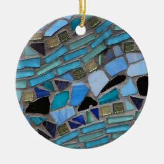 Blue Sea Glass Mosaic Christmas Ornament