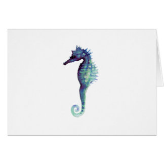 Blue sea horse design nautical oceanic seahorses card