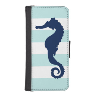 Blue Sea Horse on Mint Nautical Stripes Pattern iPhone SE/5/5s Wallet Case