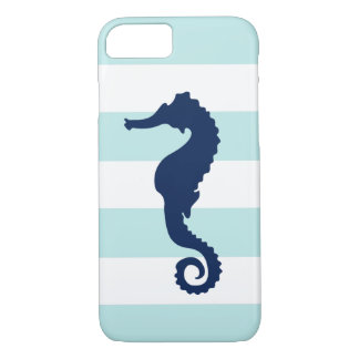 Blue Sea Horse on Mint Stripes iPhone 8/7 Case