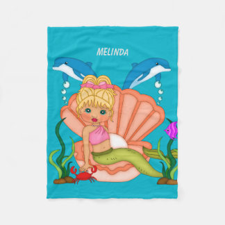 Blue Sea Mermaid and Dolphin Fleece Blanket