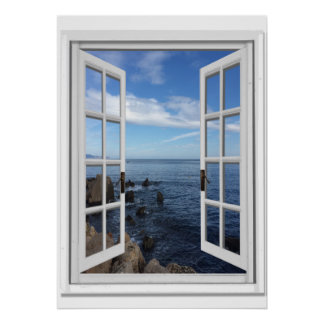Blue Sea Ocean View Faux Window Poster