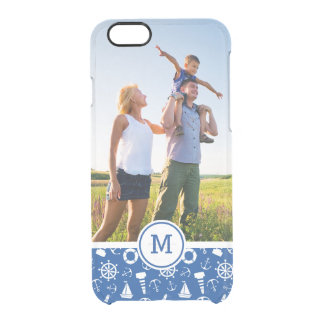 Blue Sea Pattern| Add Your Initial Clear iPhone 6/6S Case