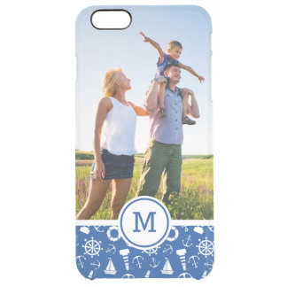 Blue Sea Pattern| Add Your Initial Clear iPhone 6 Plus Case