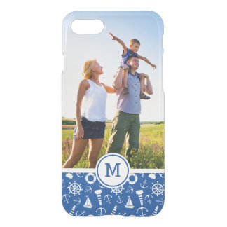 Blue Sea Pattern  Add Your Initial iPhone 8/7 Case