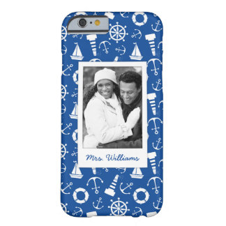 Blue Sea Pattern | Your Photo & Name Barely There iPhone 6 Case