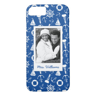 Blue Sea Pattern | Your Photo & Name iPhone 8/7 Case
