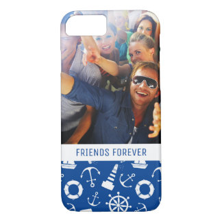 Blue Sea Pattern | Your Photo & Text iPhone 8/7 Case