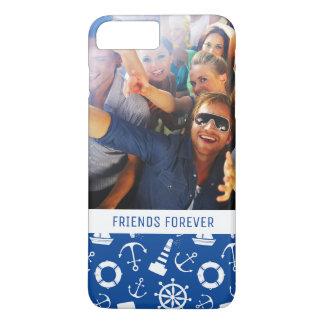 Blue Sea Pattern   Your Photo & Text iPhone 8 Plus/7 Plus Case