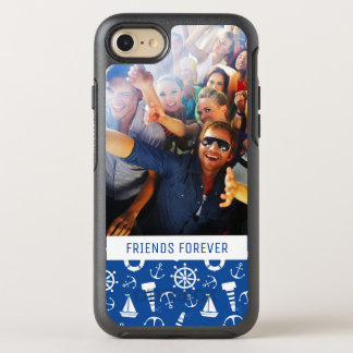 Blue Sea Pattern | Your Photo & Text OtterBox Symmetry iPhone 8/7 Case