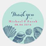 Blue Sea shells Beach Wedding Thank You Sticker