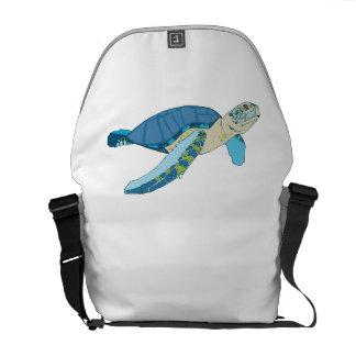 Blue Sea Turtle Messenger Bag