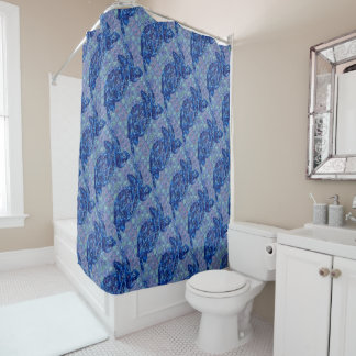 Blue Sea Turtles and Fish Patterned Shower Curtain