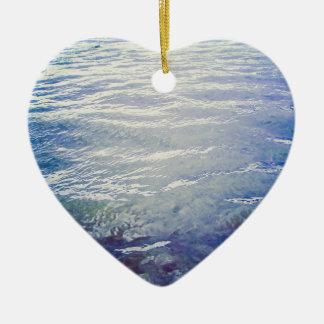 Blue sea water waves ceramic heart decoration