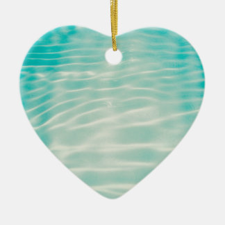 Blue sea water waves vintage ceramic heart decoration