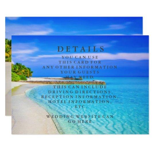 Blue Sea Waves and Sand Beach Wedding Information Card