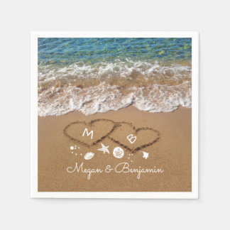 Blue Sea Waves and Sand Hearts Tropical Wedding Disposable Serviette