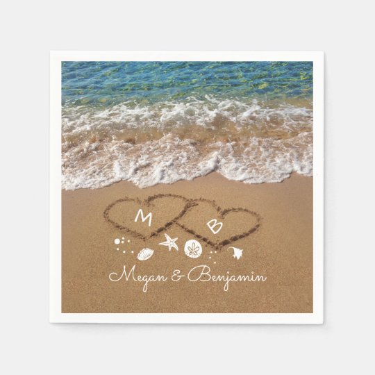Blue Sea Waves and Sand Hearts Tropical Wedding