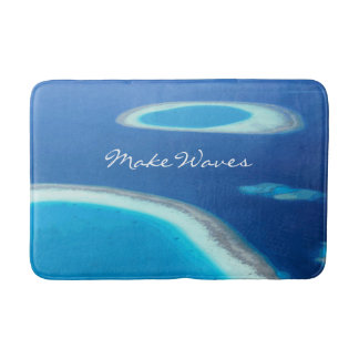 Blue Sea White Lagoons Ocean Make Waves Custom Bath Mats