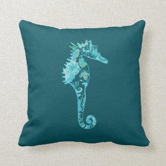 Blue Seahorse Blue Cushion