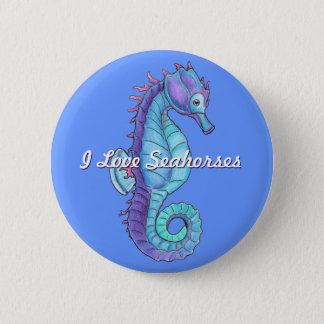 Blue Seahorse Button