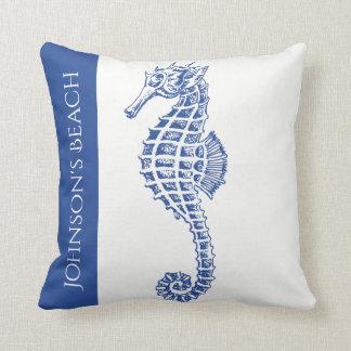 Blue Seahorse Marine Life Cushion