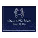 Blue Seahorse Monogram Save The Date Postcards