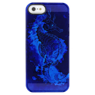 Blue Seahorse Painting Clear iPhone SE/5/5s Case