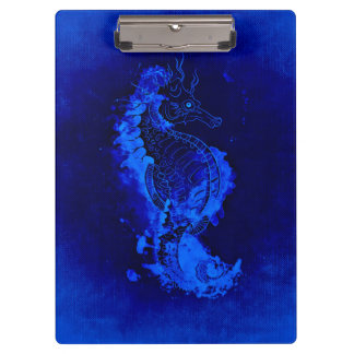 Blue Seahorse Painting Clipboard