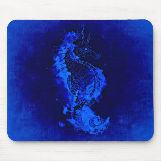Blue Seahorse Painting Mouse Mat
