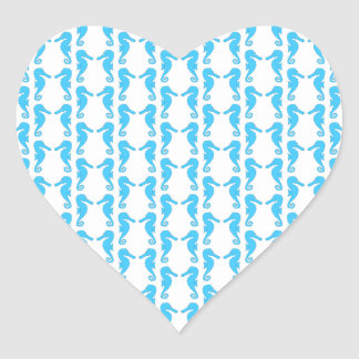 Blue Seahorse Pattern Heart Sticker