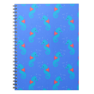 Blue Seahorse Pattern Spiral Note Book