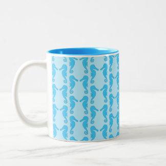 Blue Seahorse Pattern Two-Tone Coffee Mug