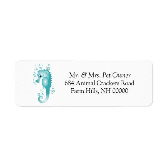 Blue Seahorse Theme Return Address Labels Stickers