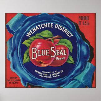 Blue seal apples label large poster