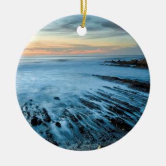 Blue seascape at sunset, California Round Ceramic Decoration
