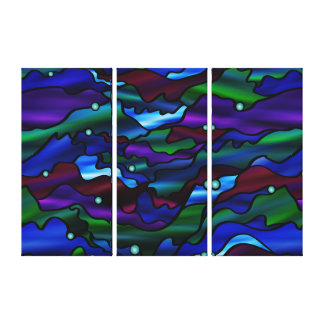 Blue Seascape Organic Stained Glass Abstract Canvas Print