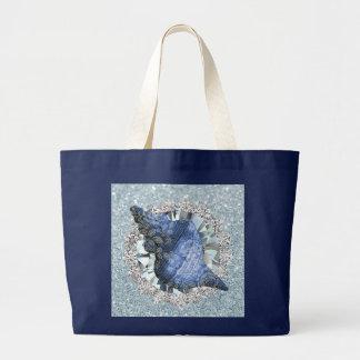 Blue Seashell Aquamarine Jewel Faux Glitter Large Tote Bag