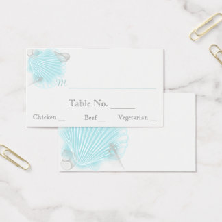 Blue Seashell Beach Wedding Place Cards
