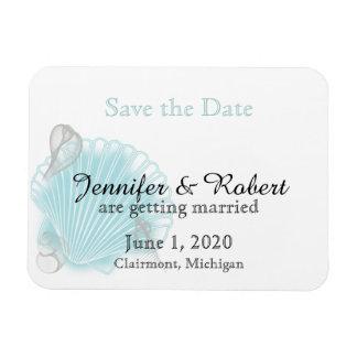 Blue Seashell Beach Wedding Save the Date Magnet