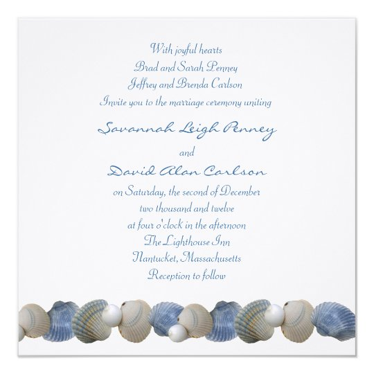 Blue Seashell Border With Reply, Wedding Invite