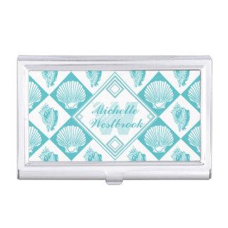 Blue Seashell Diamond Nautical Beach Monogram Business Card Holder
