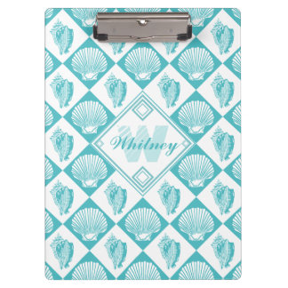 Blue Seashell Diamond Nautical Beach Monogram Clipboard