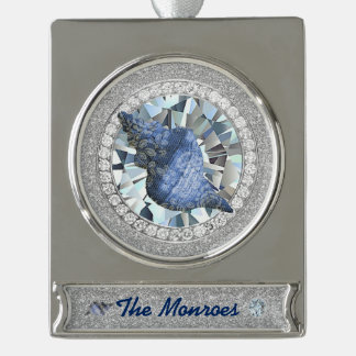 Blue Seashell Jewel Silver Plated Banner Ornament
