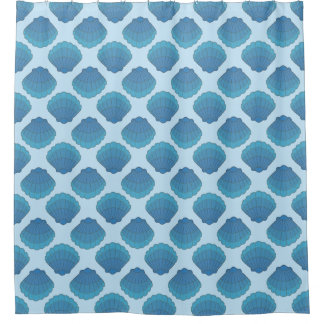 Blue Seashell Mosaic Pattern Shower Curtain