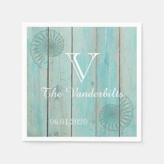 Blue Seashell on Wood Beach Wedding Napkin Paper Serviettes