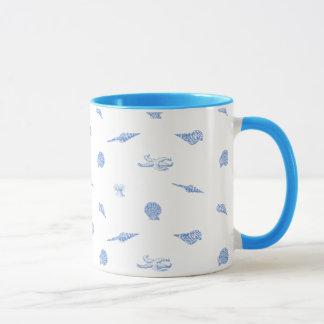Blue Seashells and Starfish mug