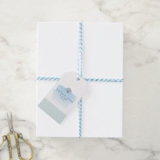 Blue Seashells Beach Wedding Gift Tags